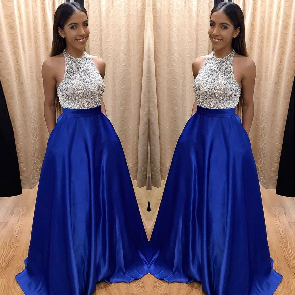 05c0937280 Royal Blue Satin Sleeveless A Line Pockets Formal Gowns, High Neck Long  Evening Prom Dresses ...
