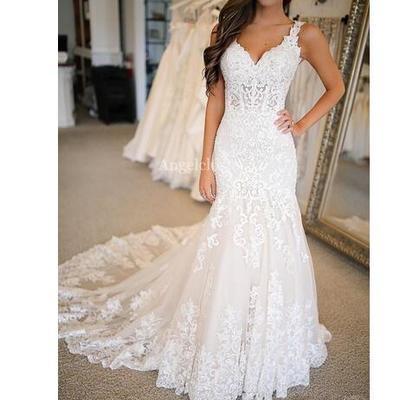 9556ea704623 Charming mermaid lace wedding dresses v neck backless sweep train appliques  modern garden bridal gowns vestido