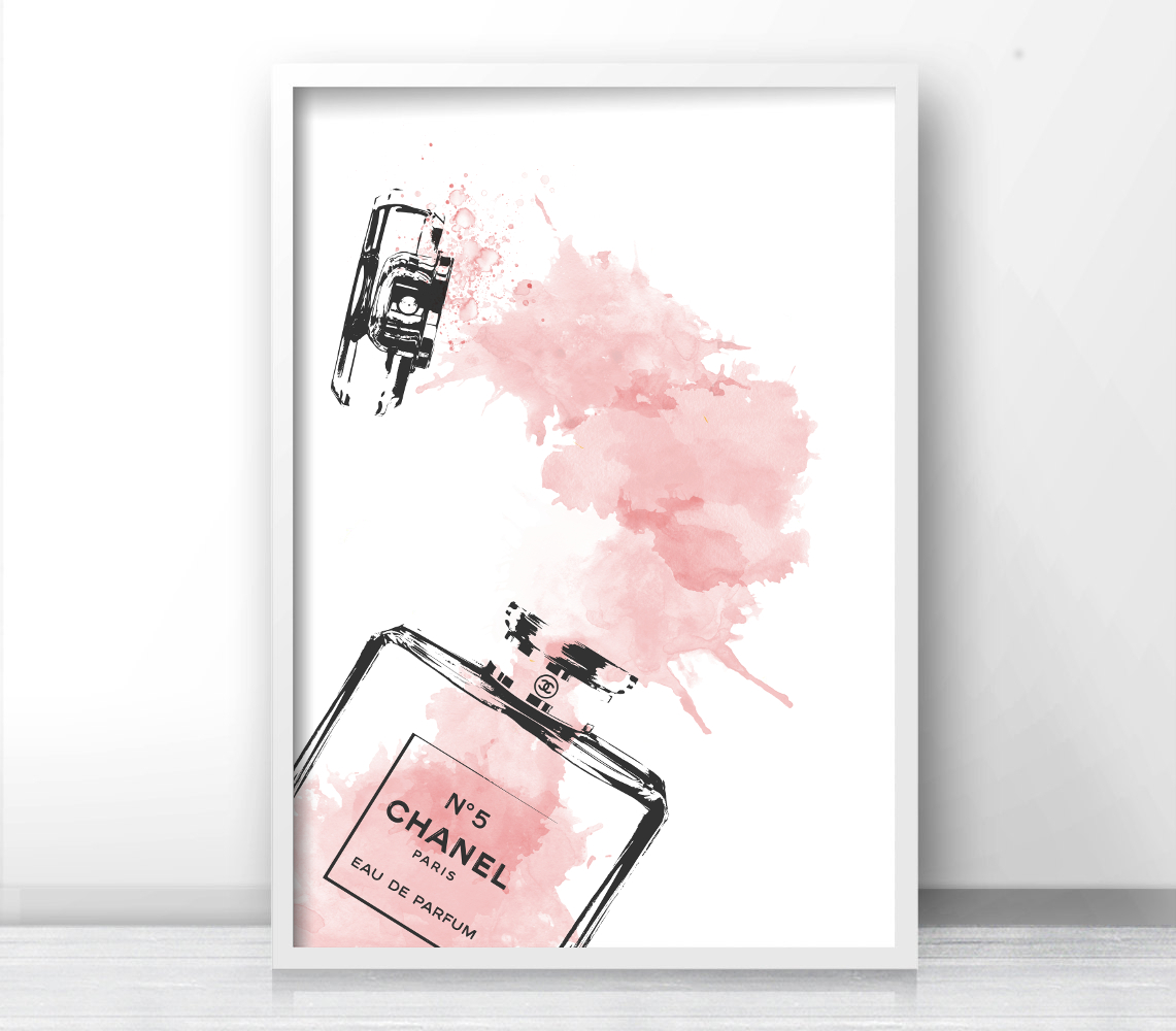 Inspired Coco Chanel Logo Bottle Perfume Chanel Fashion Print Typography Gallery Wall Art