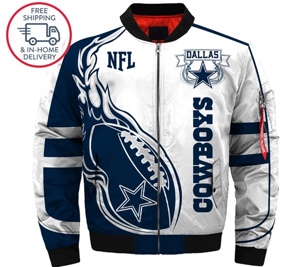 new arrival 95911 cf7ab Jacket Men Dallas Cowboys Football Team Polyester / Cotton Outerwear &  Coats Zipper Print sold by isacctex