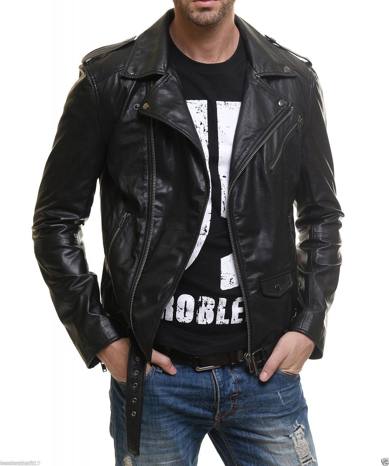 Men/'s Lambskin Leather Handmade Premium White Jacket Motorcycle Slim fit Biker