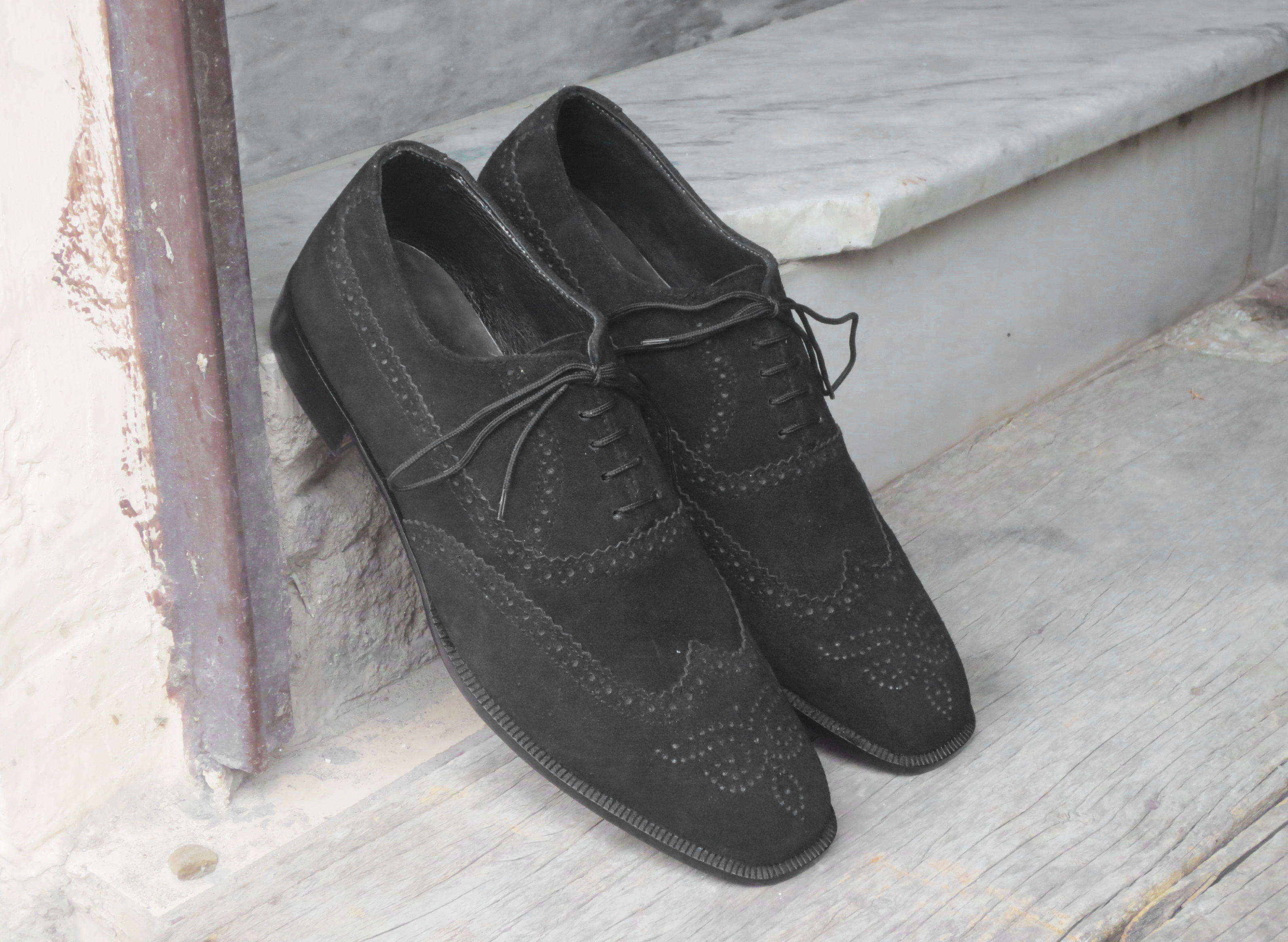 Handmade Men's Black Color Suede Leather Shoes, Wing Tip Brogue Dress Formal Lace Up Shoes sold by The Leather Souq