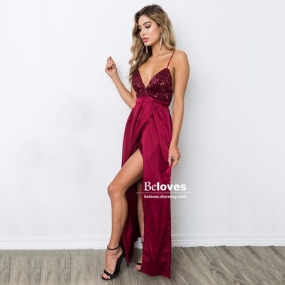 04127bc1bc1272 Burgundy thin straps v neck maxi dress, floor-length a line prom dresses,