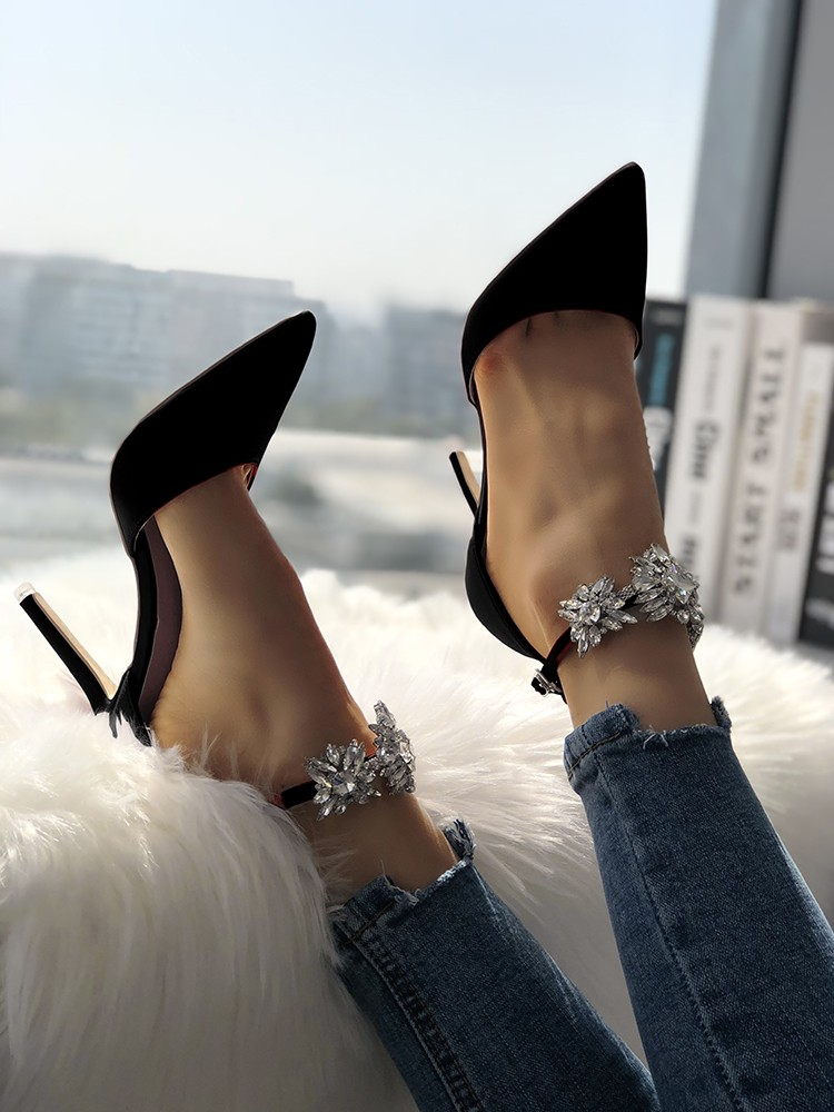 Womens Satin Pointed Toe Shiny Ankle
