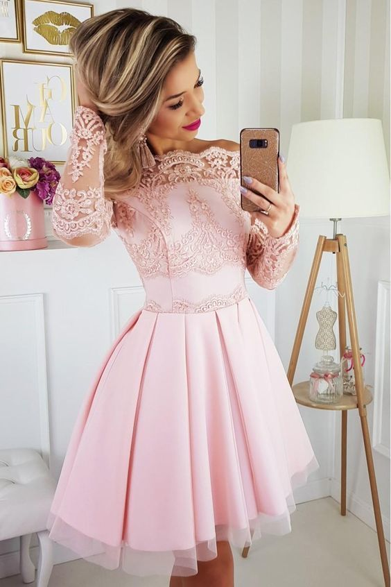 party pink short dress