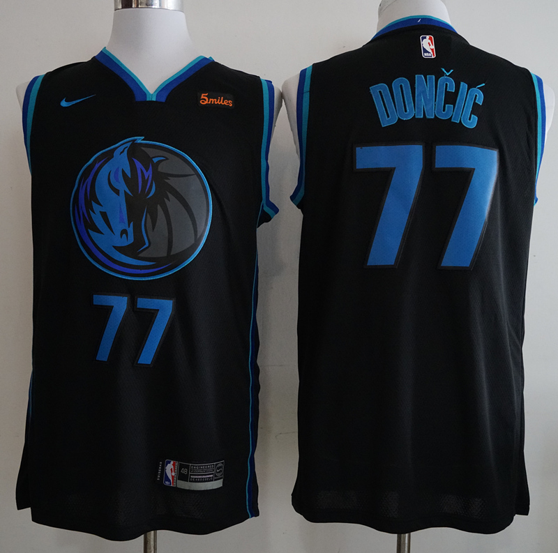 watch 0f1a2 c917b Men's Dallas Maverics #77 Luka Doncic Black Basketball Jersey S-2XL