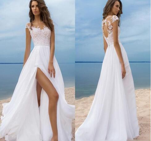 Beach Boho Wedding Dresses Short Sleeves Cheap Chiffon Bride Gowns High Side Slit Backless Wedding Gowns Sheer Neck 944 From Happybridal