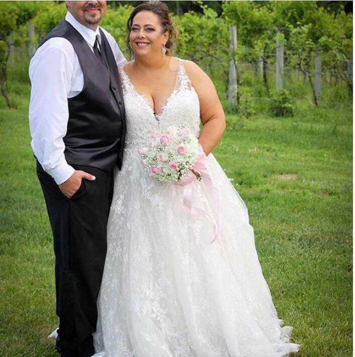 Plus Size V-neck Tulle Aline Wedding Dress Bridal Dresses with Appliques  Custom Made Country Beach Wedding Gowns from MissZhu Bridal