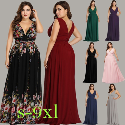 Plus Size Bridesmaid Dresses Long 2019 Chiffon Simple New Arrival V-neck  Burgundy A-line Sleeveless Cheap Prom Dresses Long 2019 from warmthhouse
