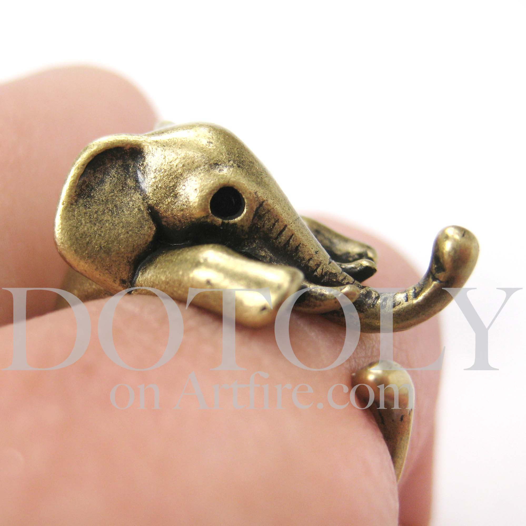Miniature Elephant Animal Wrap Ring in Bronze Sizes 5 to 10 available from  DOTOLY Animal Jewelry
