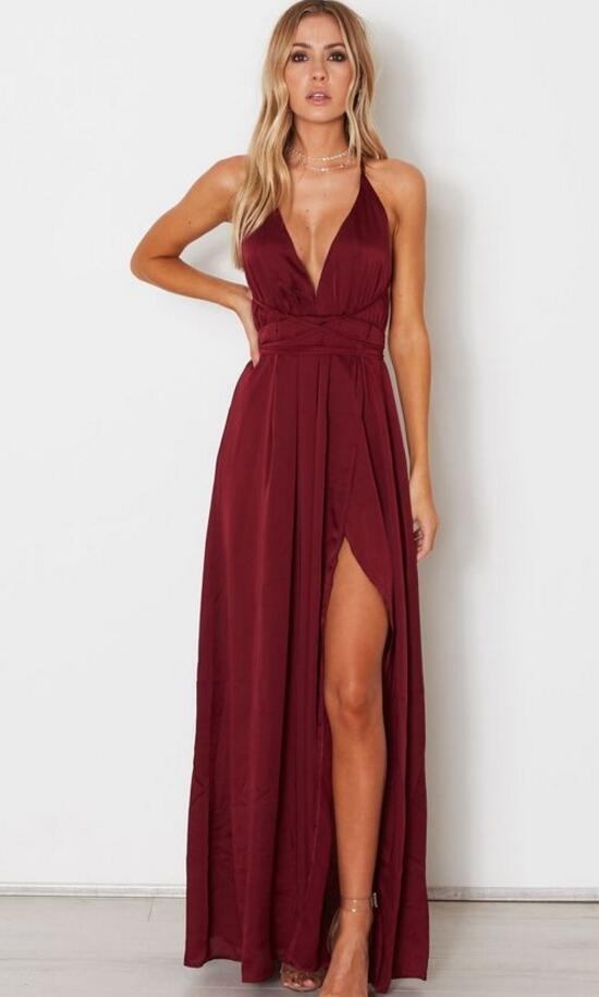 acquista per up-to-date styling modelli alla moda Spaghetti Straps A Line Simple Long Burgundy Prom Dresses Sexy ...