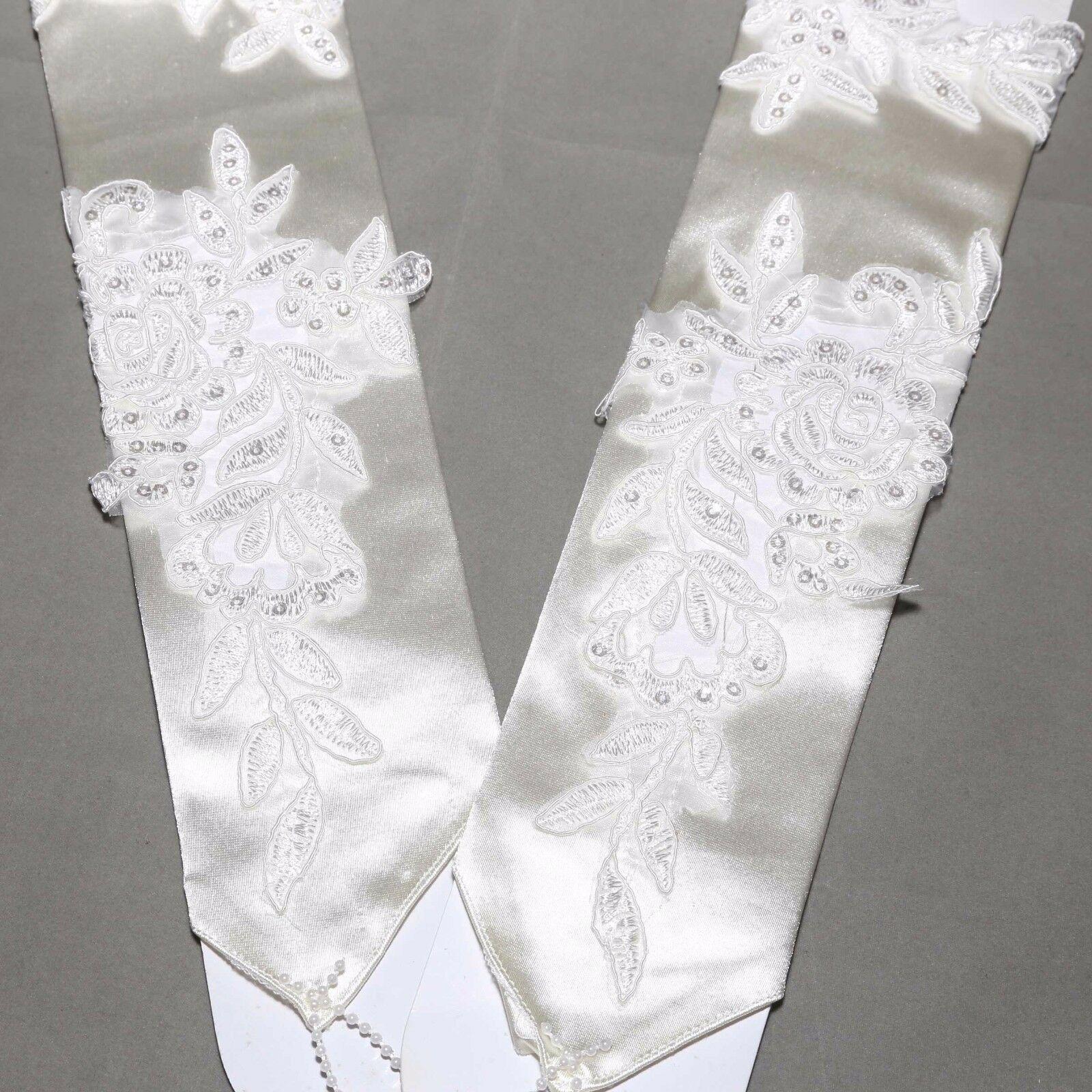 "18/"" White Bridal Embroidered Pearl Fingerless Wedding Gloves"