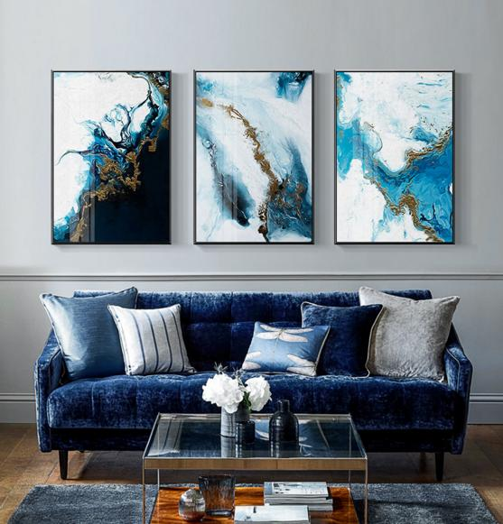 Blue White Gold Abstract Clouds Wall Art On Canvas Home Decor Belladonna Online Store Powered By Storenvy