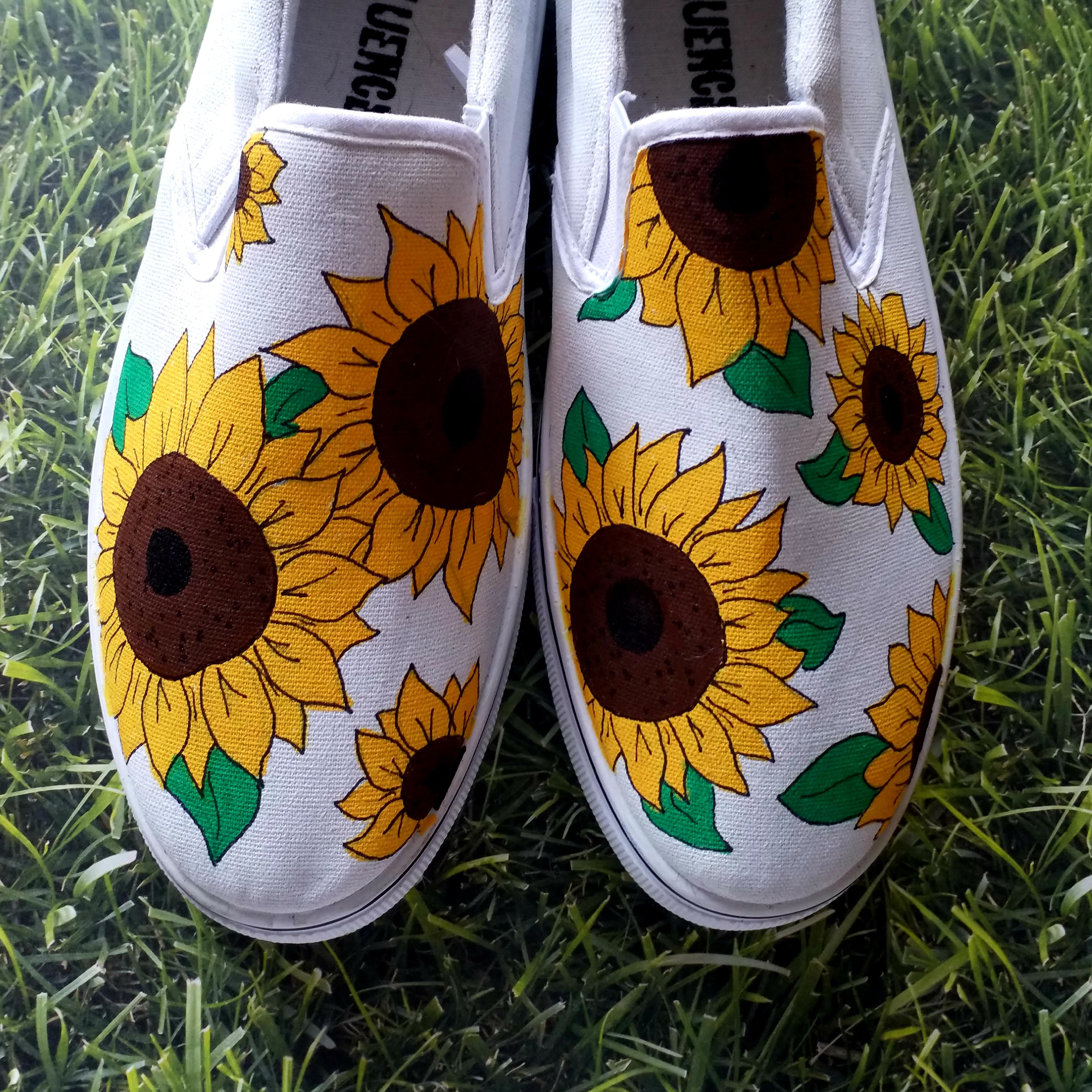 Sunflowers painted shoes