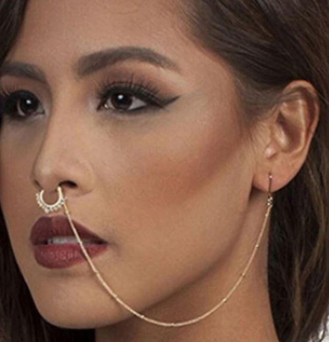 Nose Rings And Studs Fake Septum Piercing Crystal Nose Hoop Fake