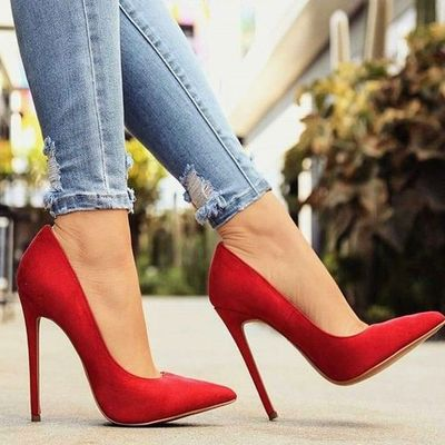 Unique red stiletto heels hot new women's shoes h6752
