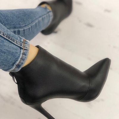 Winter new women's leather boots women's shoes back zipper short plush pointed g6752