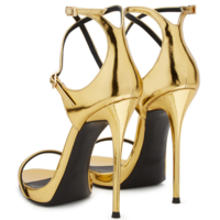 Women's Golden Patent Leather Bag With Cross Buckle High Heel Sandals G6685 - Thumbnail 2