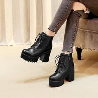 Winter Black New Martin Boots Women Plus Velvet Boots Thick Heel High Heel Women's Shoes Short Boots Hot F6752 - Thumbnail 2