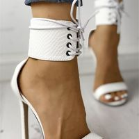 White Snake Textured Strappy Simple Sexy High-Heeled Sandals G6851 - Thumbnail 2
