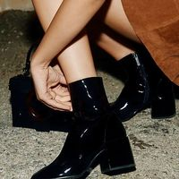 Winter New Patent Leather Boots Martin Boots High-heeled Knight Boots Black G6751 - Thumbnail 2