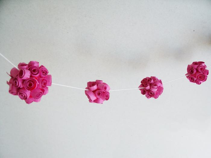 Quilled fuschia flower ball garland quilled dark pink flower ball peony1 original mightylinksfo