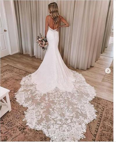 Luxury Mermaid Wedding Dresses Spaghetti Straps Lace Bridal Gowns Joepaldress Online Store Powered By Storenvy
