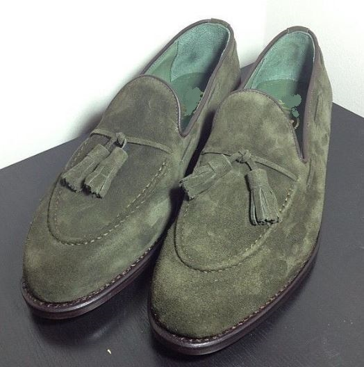 Olive Green Suede Tussles Loafers Shoes