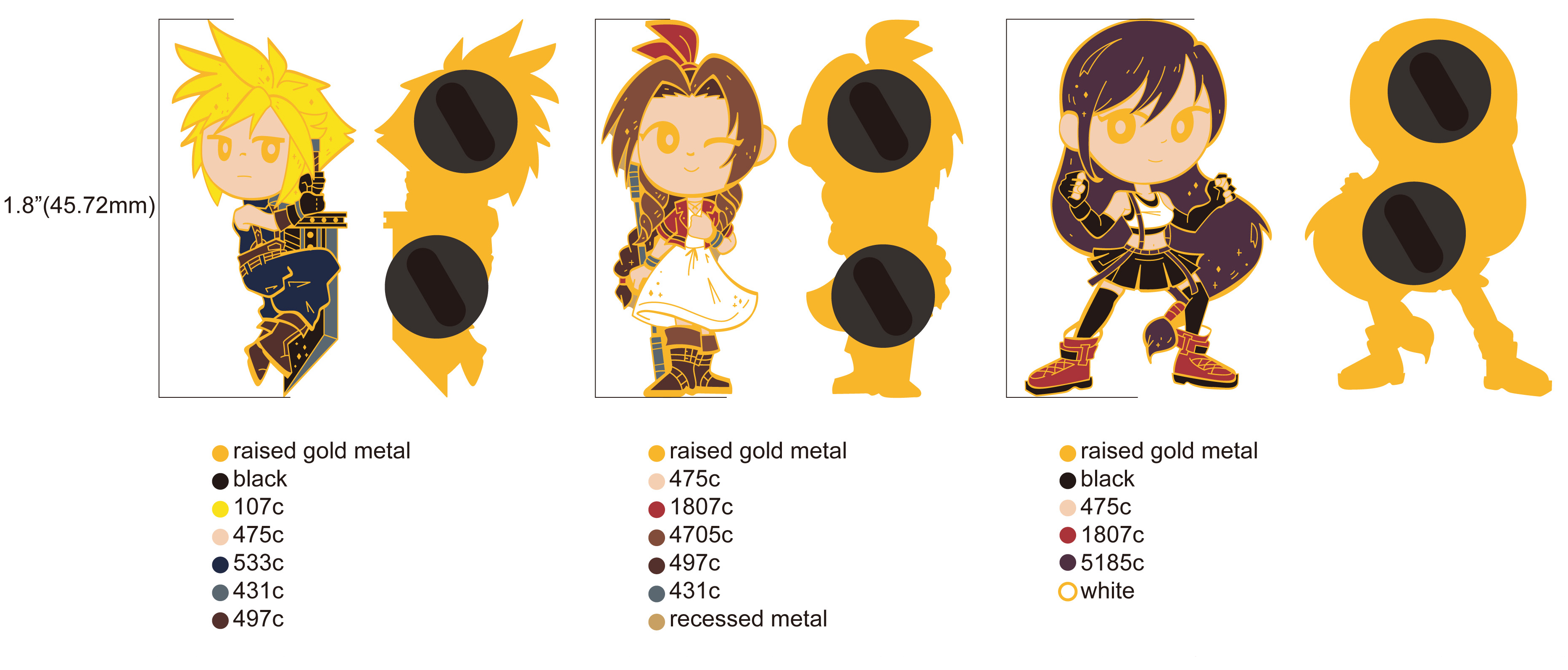Cloud and Aerith Enamel Pins