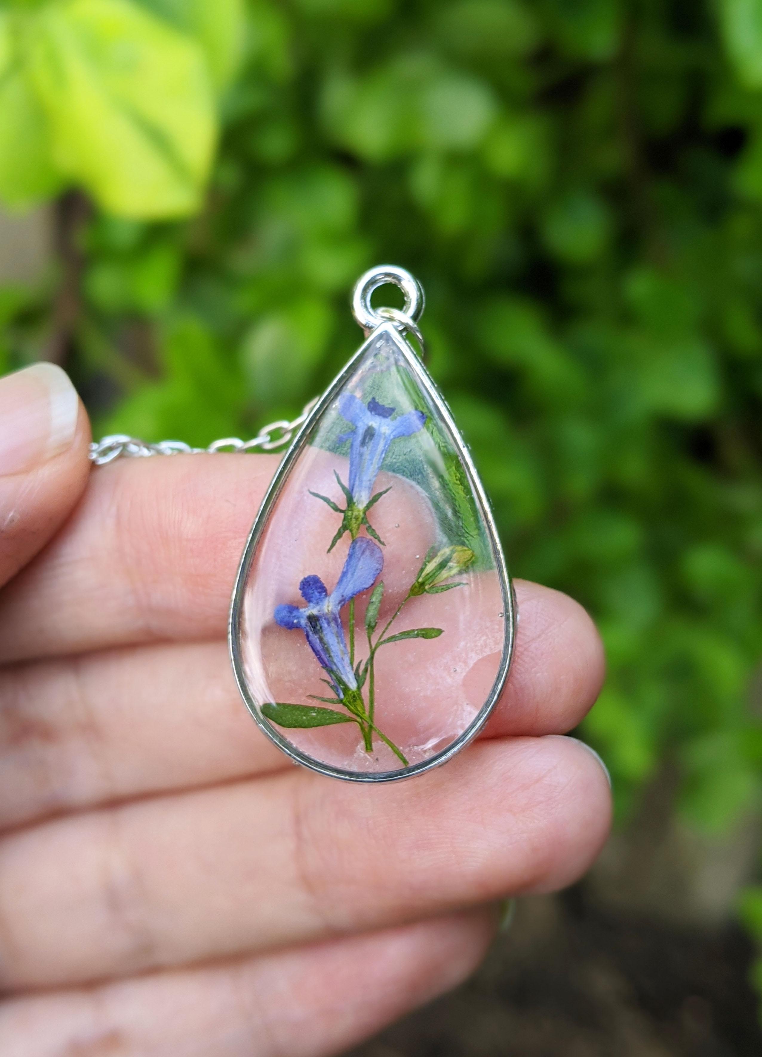 Natural Flower in Diamond Silver Frame Lobelia Blue Flower Resin Pendant