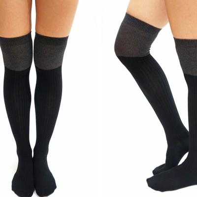 5d3e0a26fd3d20 Athletic Stripe Thigh High Socks/ tights -Black · Sandysshop ...