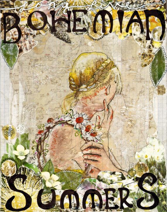 Bohemian Summers 16 X 20 Paper Print Bohemian Art Boho Chic