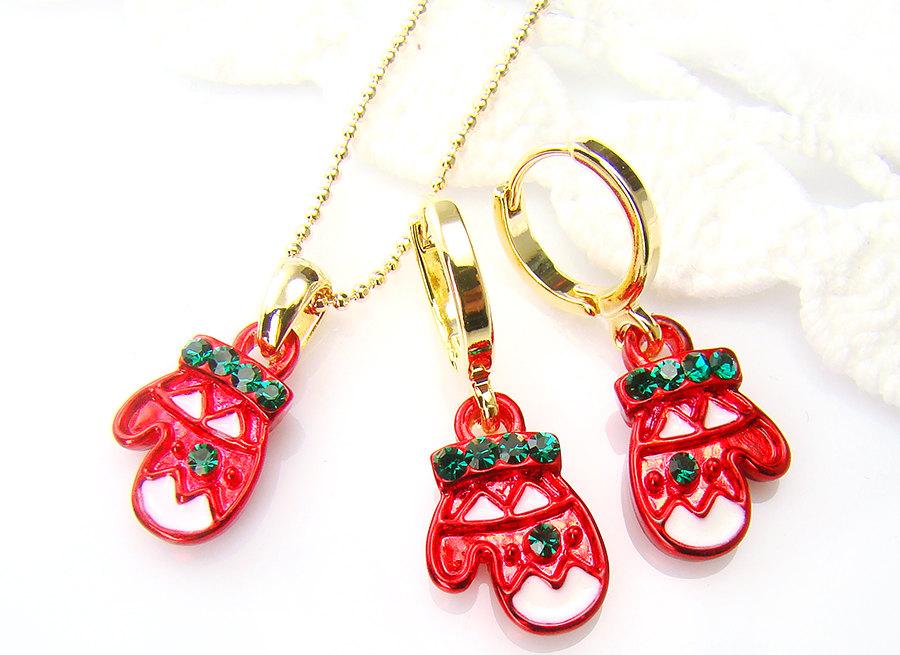 Christmas Ornament Santa Glove Earrings Necklace Set ...