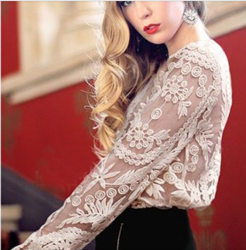 27f7d92f4 Long Sleeve Hollow Crochet Lace Blouse · Style Cabin · Online Store ...