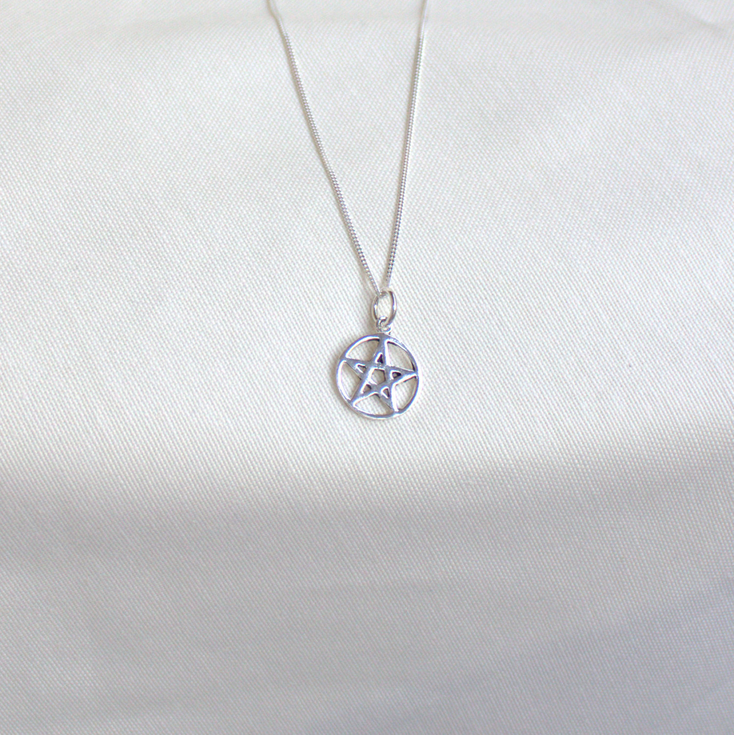 Silver pentagram necklace sterling silver pendant and chain pendacle il fullxfull528712606 d2pj small aloadofball Choice Image
