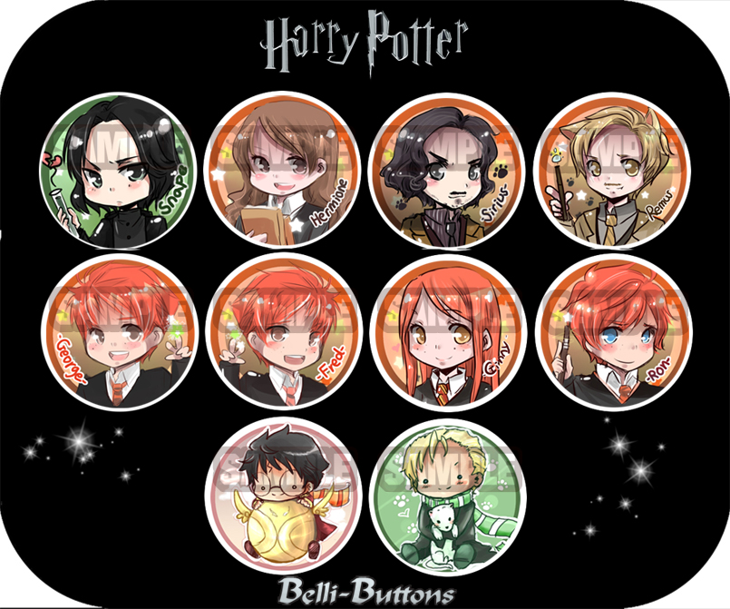 Harry Potter Button Set (10) On Storenvy